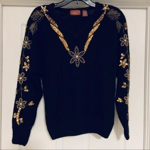 Black and Gold Embroidered Worthington Sweater